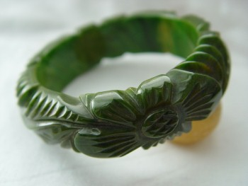 Bright Green Opaque Spinach With Faint Cheese Marbling Domed Bakelite Bangle Two Giant Fully Carved Flowers Alternate Huge Ribbed Leaves
